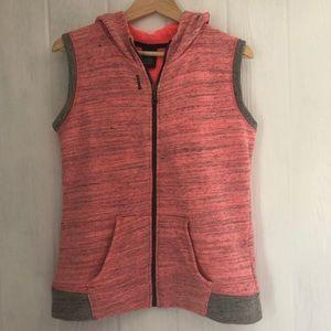 🍁 Reebok Hooded Vest Hoodie XL Neon Pink Gray